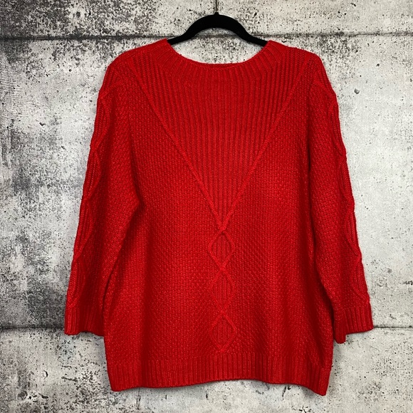 Karl Lagerfeld // Red Cable Knit Sweater